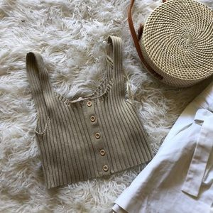 Ribbed beige button up crop top